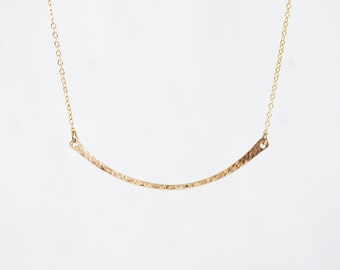 Curved Bow Bar Necklace - 14k gold filled handmade thin round hammered bar necklace, curved delicate dainty bar charm layering jewelry