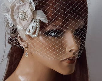 Wedding Fascinator, Bridal Veil, Ivory Fascinator, Wedding Hair Clip, Bridal Headpiece, Wedding Headpiece, Birdcage Bridal Veil, Wedding Set