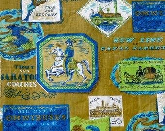 Vintage 60's polished cotton fabric olive green w neon lime green and royal blue transportation theme steamship horse carriage trains