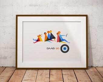 Saab 95 advertising - A3 Art Print
