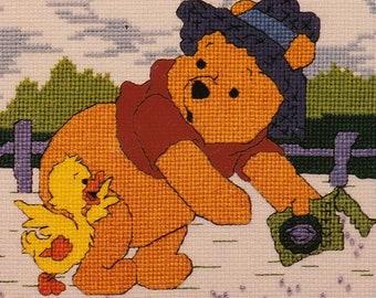 Leasure Arts, counted cross stitch kit, Pooh's Little Helpers #113235, unopened full kit, needlework, gift, Winnie-the-Pooh, nursery decor
