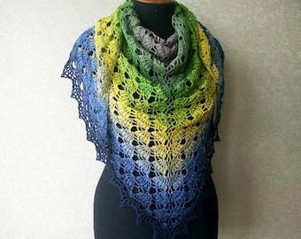 Сolor transition crochet wrap, Crochet shawl. Openwork knitted shawl, triangular shawl. Lace scarf, crochet scarf, Summer Shawl