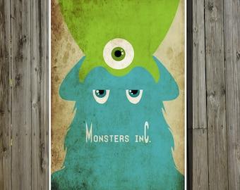 Monsters Inc movie poster Pixar print Disney minimalist poster geekery art nursery print