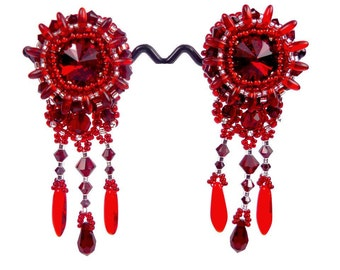 Embroidered, clip earrings in silver, Swarovski Crystal and Red Bohemian glass, couture, baroque