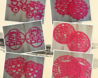 Chinese wedding decorations, Double Happiness Sticker with Garland, Stiff felt