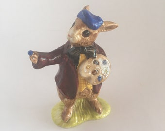 The Artist Royal Doulton Bunnykins Porcelain Figurine DB 13 Made in England Bunny in Beret with Palette