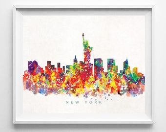 New York Skyline, Print, Watercolor Print, NYC Wall Art, Watercolor Art, City Poster, Cityscape, Home Decor, Fathers Day Gift
