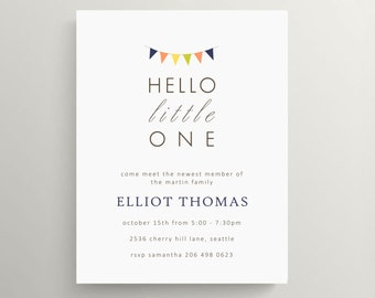 hello little one pennant invitation, pennany meet baby invitation, bunting invitation, bunting sip and see, gender neutral invitation