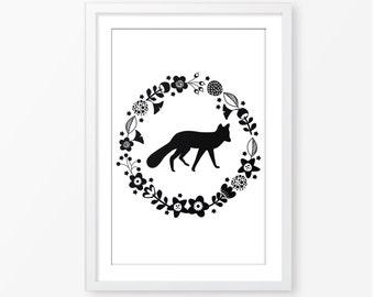 Fox silhouette black and white,monochromatic wall art,nature wall art,nursery poster,nursery printable,digital baby wall art,kids room decor