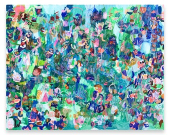 """Large original abstract painting extra large green painting modern acrylic canvas art large abstract wall art unique art painting  60"""" x 48"""