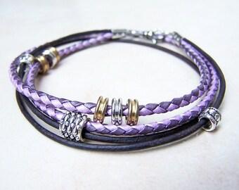 Double Wrap Purple and Black Leather Ankle Bracelet