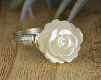 White Mother of Pearl Rose Wrapped Ring - Sterling Silver, Yellow or Rose Gold Filled Wire/Carved Flower- Size 4 5 6 7 8 9 10 11 12 13 14