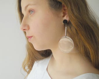 Huge orb earrings, Hanging Clear disc long stud dangle Summer party earrings geometric Jewelry for her