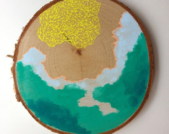 Artifacts of Joy - Map Island Current Cloud Artifact - Painting on Birch Wood - Wood slice - Abstract art