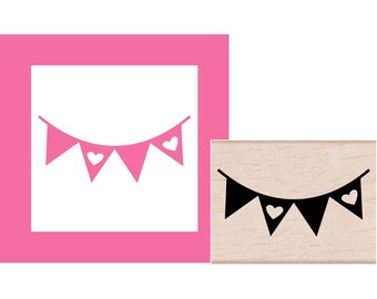Banner Bunting Rubber Stamp