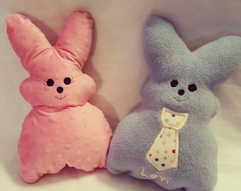 Handmade Washable Fleece Bunnies with FREE Personalization and optional applique! Adorable Easter Basket accessory!