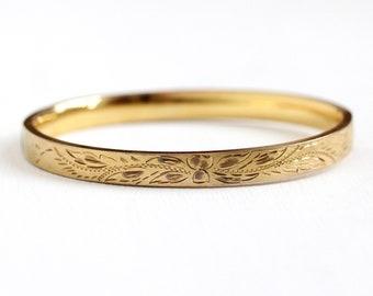 Gold Filled Bangle - Vintage 14k Rosy Yellow Gold Filled Hinged Bracelet - Retro 1970s Stacking 7 Inch Leaf Vine Brushed Finish HFB Jewelry