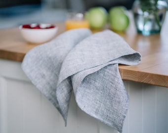 Gray 100% linen kitchen towels. Pure linen towels. Linen tea towels.