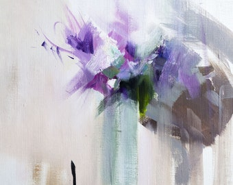 Lilac Oil Painting, Abstract Art Irises Painting, Floral Oil Painting Canvas Art Original Flowers, Contemporary Artwork