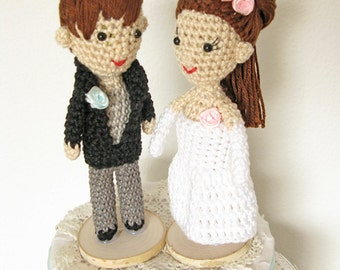 Couple Cake Topper, Bride and Groom Cake Topper, Custom Wedding Cake Topper, Portrait Cake Topper, Doll Cake Topper