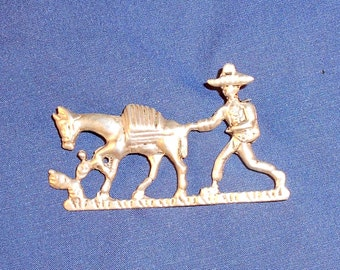 Vintage Brooch Pin Sterling Silver Made in Mexico Brooch Pin Man with Donkey & Cactus