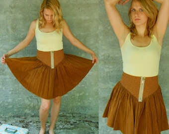 corduroy and houndstooth skirt . handmade from vintage fabric . small or medium