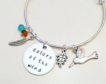 Colors of the Wind Pocahontas Disney Inspired Stamped Adjustable Bangle Charm Bracelet