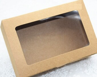20pcs/pack: 18X12X5cm kraft paper cake box with PVC window gift box kraft cardboard boxes for cakes paper box