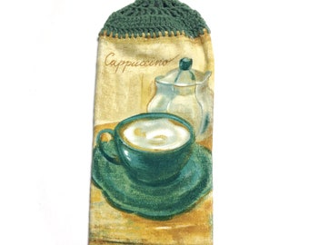 Cappuccino Hand Towel With Light Sage Crocheted Top