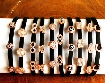 Eye • Infinity • Butterfly • Heart • Horseshoe • Flower • Hamsa • Rubber CZ Charm Bracelets Exclusive Design Plus 10% off at Checkout