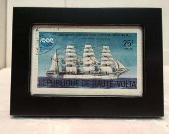 Sailing Ship, Vintage Stamp, Framed Art, Gift Under 10 dollars, Framed Sailing Ship, Tall Ship, Framed Postage Stamp,