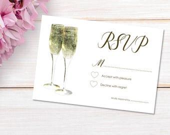 10 Wedding RSVP Cards with Envelopes - White / Gold Print - Champagne Celebration