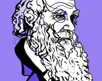 Charles Darwin Portrait Print. Decorative Wall Art. Origin of Species. Science and Nature. Biology. Natural Selection. Cambridge. Earthworm.