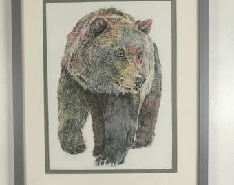 A Giclee print of an original drypoint etching of a Bear. Drypoint etching, perfect for stylish home decor. Watercolour and ink