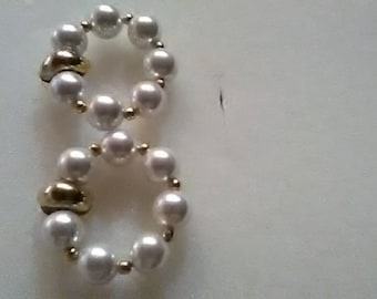 Vintage glass pearls beaded pierced earrings with goldtone hardware.