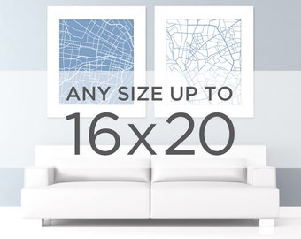 """16x20"""" City Map Poster: Choose Your City and Color"""