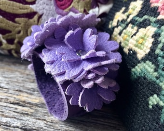 """Leather Flower Cuff on Purple Leather with 6 Lavender Deerskin Blooms Size Small/Med  (6.75"""") Wedding Prom Garden Party by Stacy Leigh"""