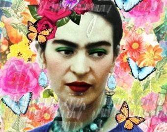Flowers Butterflies Fabric Frida Kahlo Digital Altered Art Vintage Portrait FK206