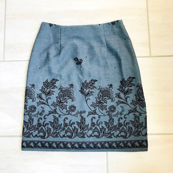 Vintage 1990s Navy Blue Denim Style Material Floral Embroidered Detail Clueless Preppy Skirt Sz 3/4 by Etsy
