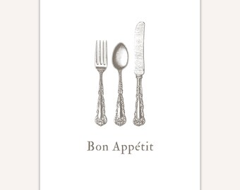 Foodie Gift Idea, Bon Appetit Sign, French Home Decor, Quote Art Print, fork, knife, spoon, cutlery illustration