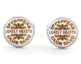 The Beatles Sgt Peppers Lonely Hearts Club Band - Silver Plated Cuff Links in Presentation Box or Gift Bag