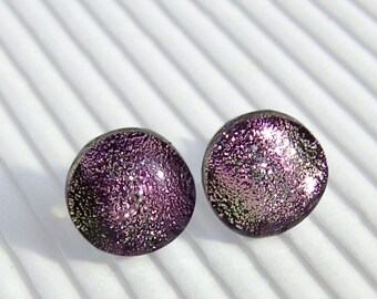 Dichroic Earrings - Dichroic Jewelry - Fused Glass Earrings - Sterling Silver Pink Stud Earrings - Post Earrings (SS12)