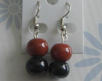 Dark brown ceramic earrings