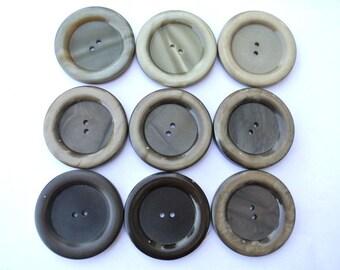 9 Vintage antique buttons unique earth color shades 43mm