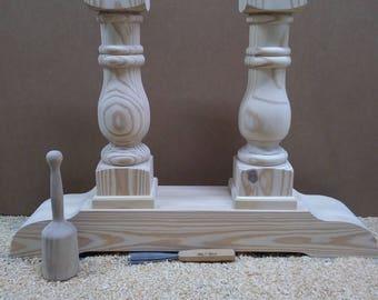 Genuine hand turned balustrade table legs