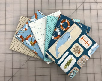 Ink and Arrow In Deep Ship 6 FQ Marine Baby Sailor Pixie Dot Quilt Fabric Fat Quarter Bundle