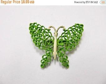 On Sale Vintage Ornate Green Enameled Butterfly Pin Item K # 2290