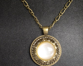 Vintage Bronze with Yellow Pearlized Button Pendant