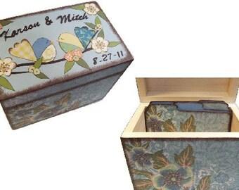 Recipe Box,Tab Dividers SET Decoupage Handcrafted Recipe Box, Large, Bird Decor, Kitchen Organizer, Recipe Holder, Storage, MADE To ORDER