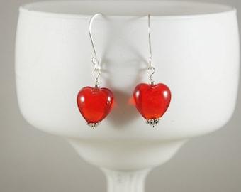 Red Heart earrings, glass heart earrings, Lampwork heart earrings, Lampwork earrings, Red earrings, Valentine earrings, Item #132
